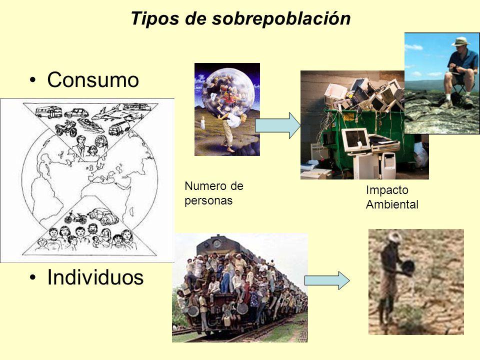 Tipos de sobrepoblación Consumo Individuos Numero de personas Impacto Ambiental