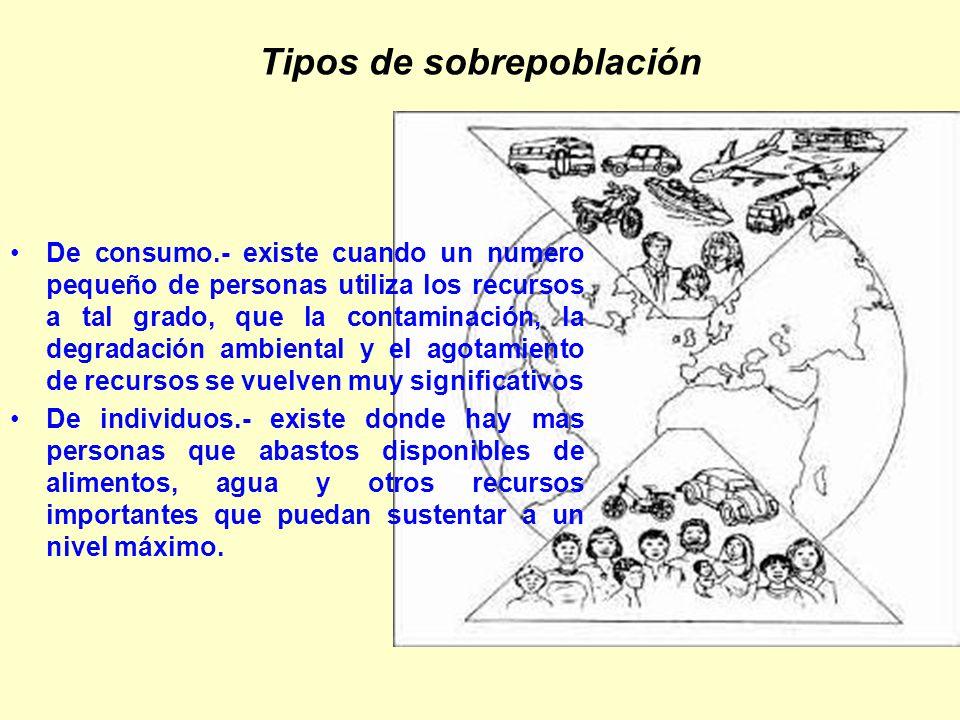 Tipos de sobrepoblación De consumo.- existe cuando un numero pequeño de personas utiliza los recursos a tal grado, que la contaminación, la degradació