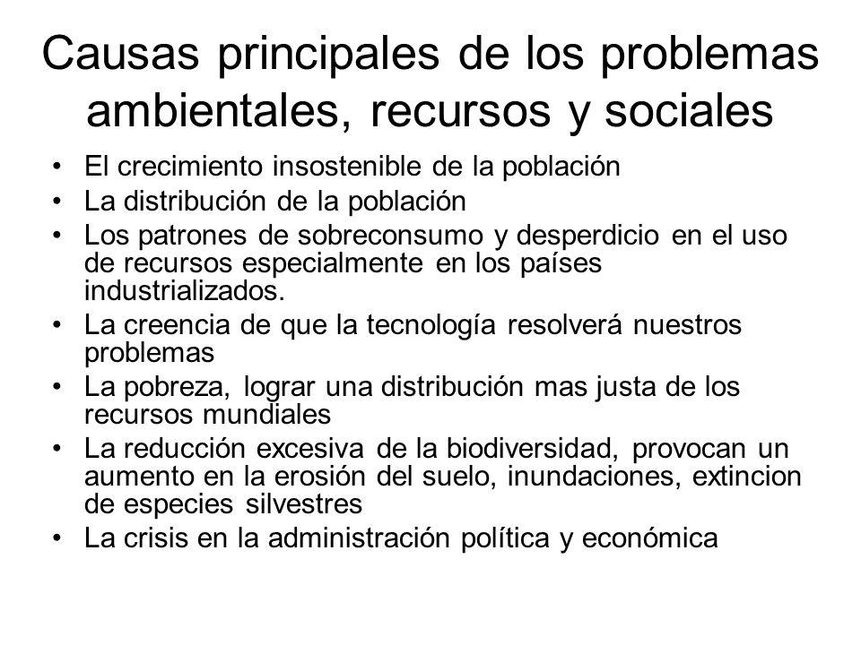 Causas principales de los problemas ambientales, recursos y sociales El crecimiento insostenible de la población La distribución de la población Los p