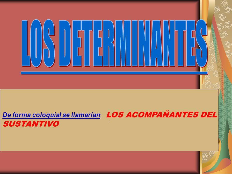 DEFINICIÓN DE DETERMINANTE.- DEFINICIÓN DE DETERMINANTE.- Son las palabras que acompañan al sustantivo para concretar su significado.