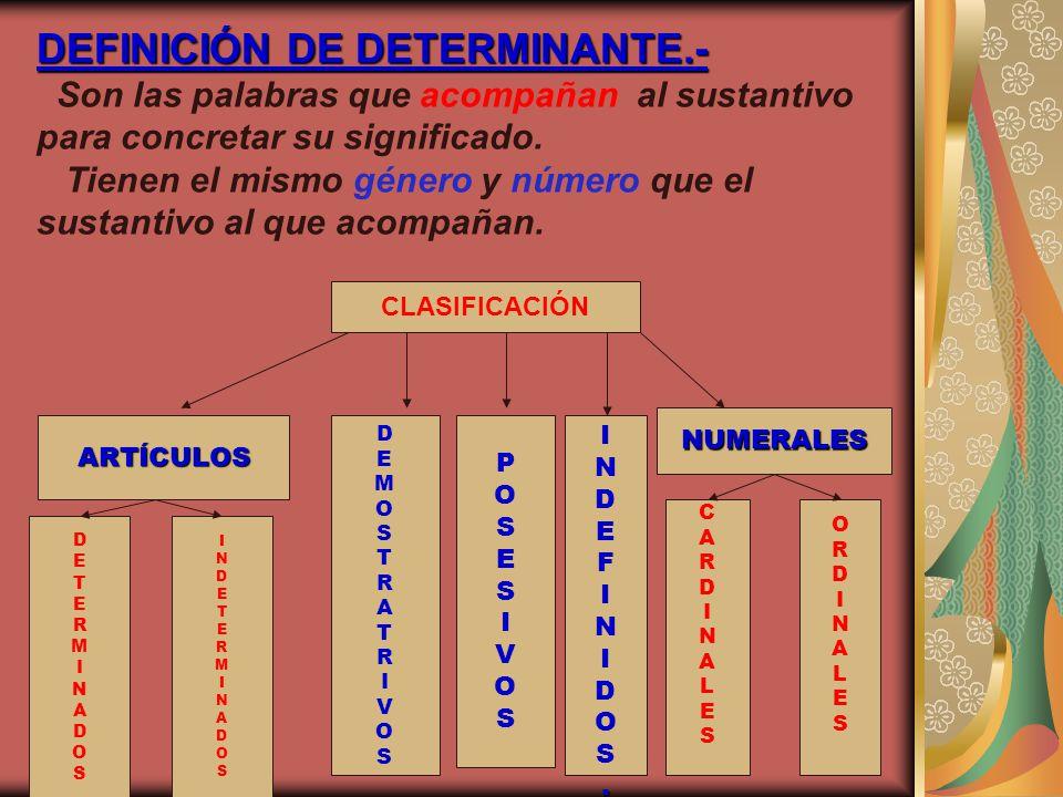 DEFINICIÓN DE DETERMINANTE.- DEFINICIÓN DE DETERMINANTE.- Son las palabras que acompañan al sustantivo para concretar su significado. Tienen el mismo