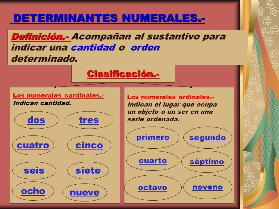 DETERMINANTES NUMERALES.- DETERMINANTES NUMERALES.- Definición.- Definición.- Acompañan al sustantivo para indicar una cantidad o orden determinado. C