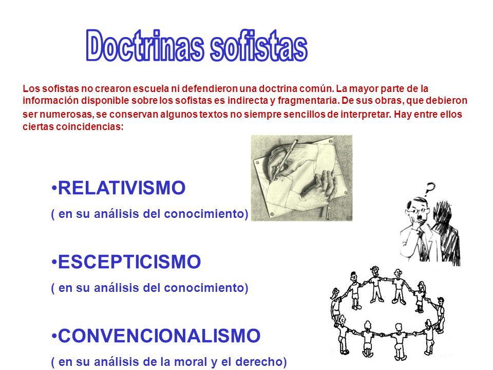 RELATIVISMO ( en su análisis del conocimiento) ESCEPTICISMO ( en su análisis del conocimiento) CONVENCIONALISMO ( en su análisis de la moral y el dere