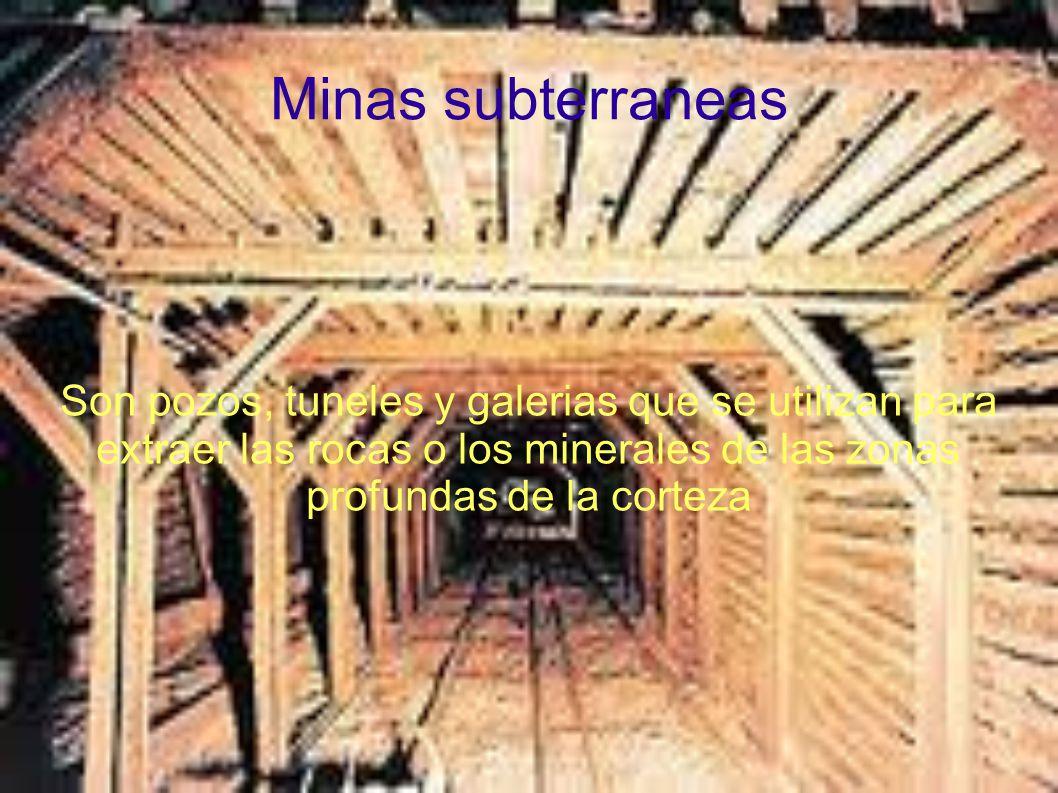 Minas subterraneas Son pozos, tuneles y galerias que se utilizan para extraer las rocas o los minerales de las zonas profundas de la corteza