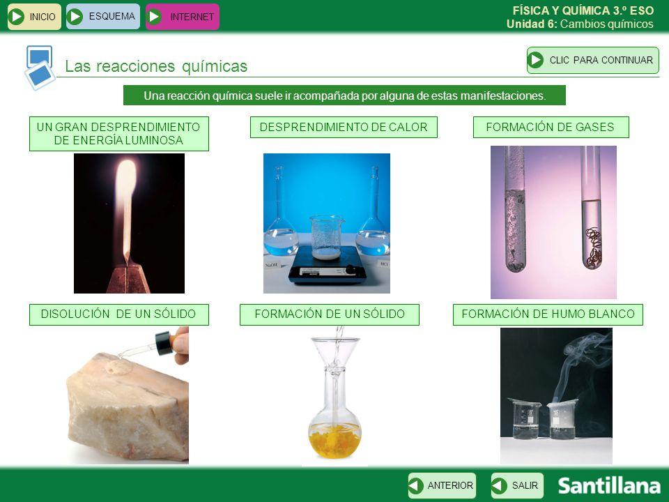 FÍSICA Y QUÍMICA 3.º ESO Unidad 6: Cambios químicos INICIO ESQUEMA INTERNET SALIRANTERIOR Las reacciones químicas CLIC PARA CONTINUAR Una reacción quí