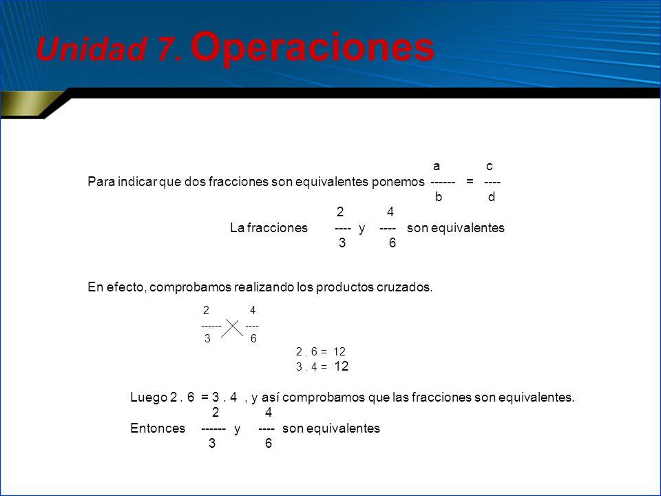 2 4 ------ ---- 3 6 2. 6 = 12 3. 4 = 12 Luego 2. 6 = 3. 4, y así comprobamos que las fracciones son equivalentes. 2 4 Entonces ------ y ---- son equiv