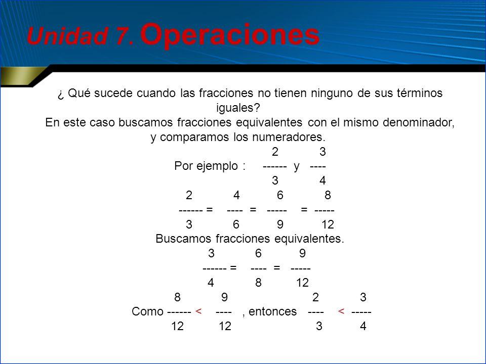 ¿ Qué sucede cuando las fracciones no tienen ninguno de sus términos iguales? En este caso buscamos fracciones equivalentes con el mismo denominador,