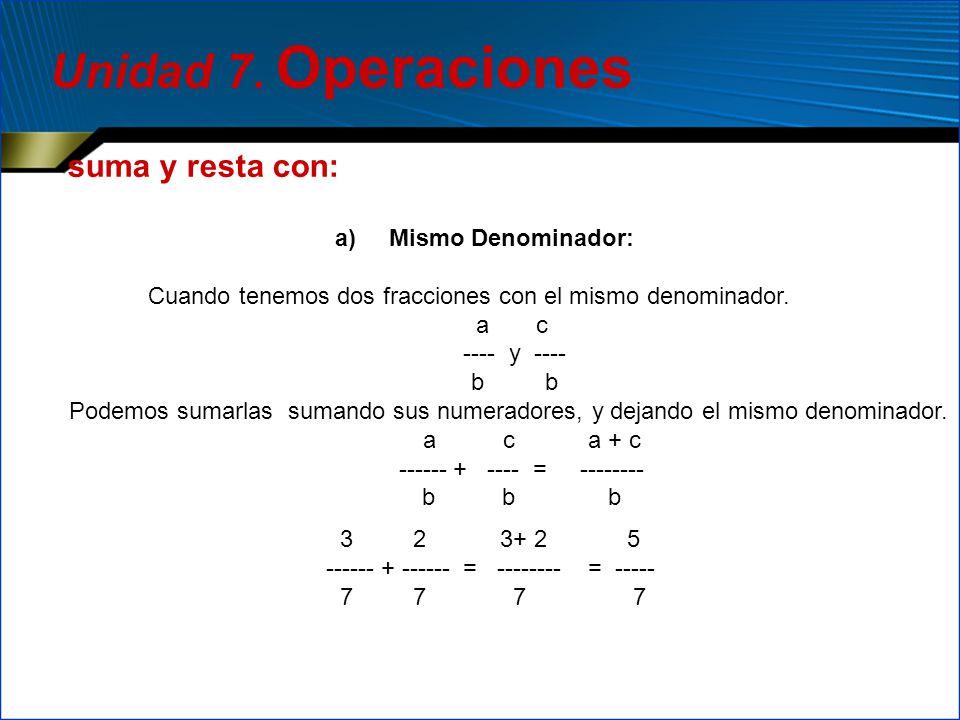 suma y resta con: a) Mismo Denominador: Cuando tenemos dos fracciones con el mismo denominador. a c ---- y ---- b b Podemos sumarlas sumando sus numer