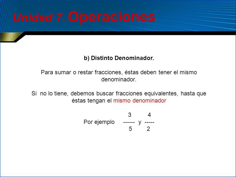 b) Distinto Denominador. Para sumar o restar fracciones, éstas deben tener el mismo denominador. Si no lo tiene, debemos buscar fracciones equivalente
