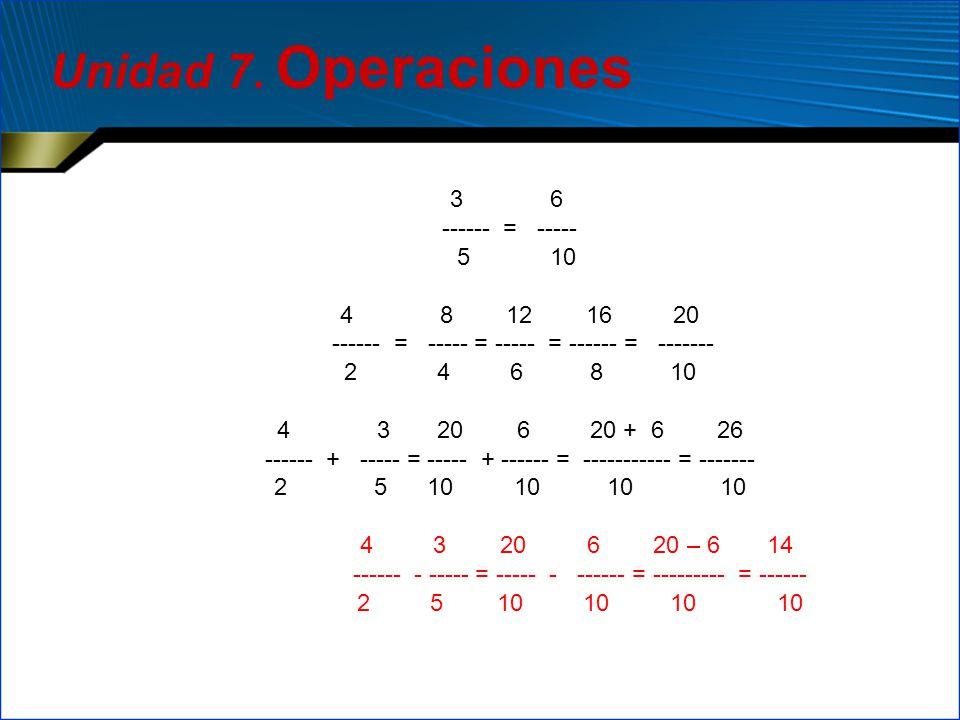 3 6 ------ = ----- 5 10 4 8 12 16 20 ------ = ----- = ----- = ------ = ------- 2 4 6 8 10 4 3 20 6 20 + 6 26 ------ + ----- = ----- + ------ = -------