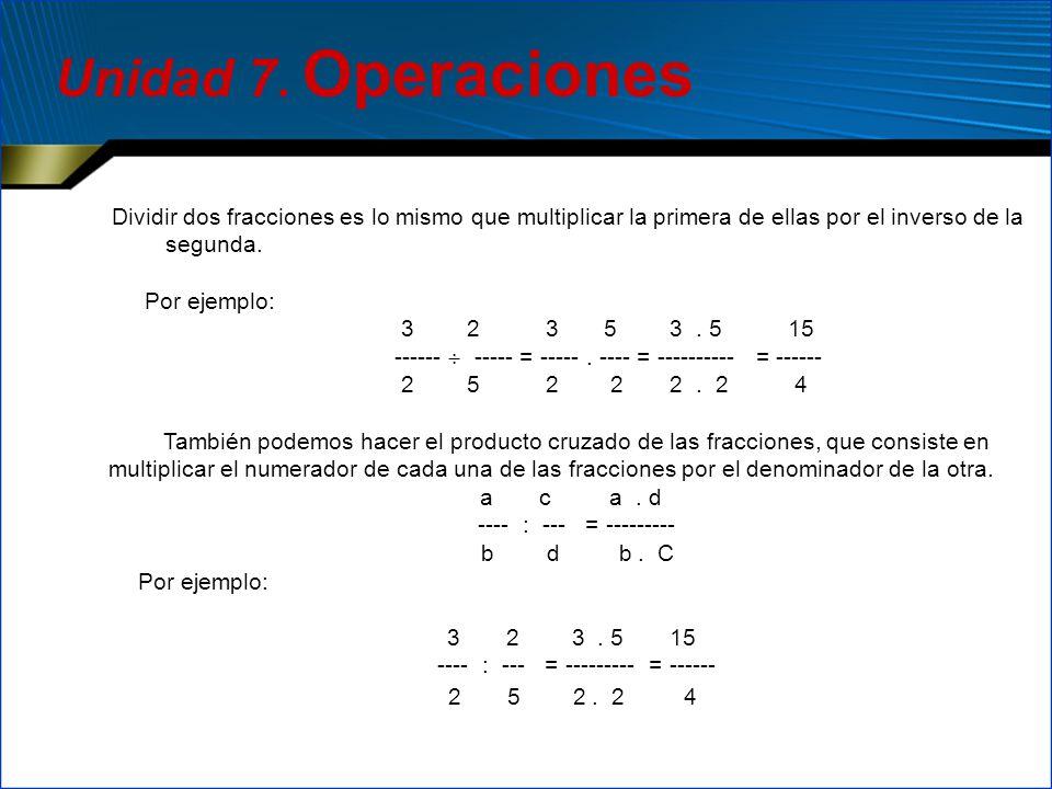 Dividir dos fracciones es lo mismo que multiplicar la primera de ellas por el inverso de la segunda. Por ejemplo: 3 2 3 5 3. 5 15 ------ ----- = -----