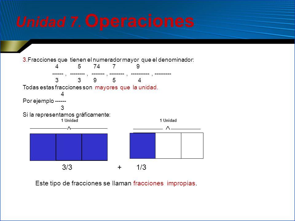 3.Fracciones que tienen el numerador mayor que el denominador: 4 5 74 7 9 ------, --------, -------, --------, ----------, --------- 3 3 9 5 4 Todas e