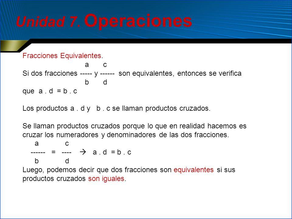 Fracciones Equivalentes. a c Si dos fracciones ----- y ------ son equivalentes, entonces se verifica b d que a. d = b. c Los productos a. d y b. c se