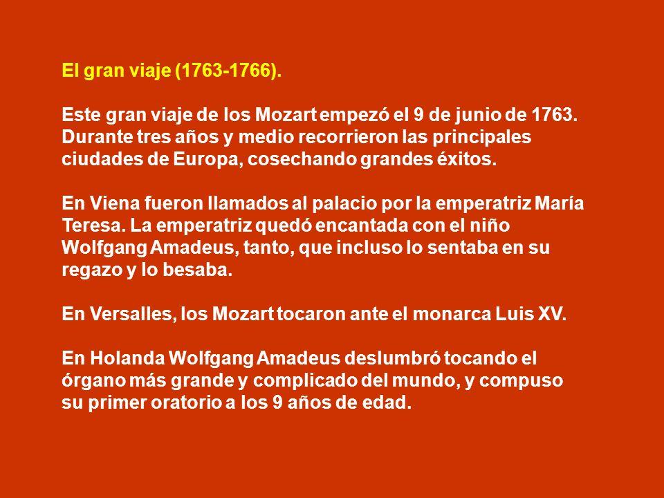 Primer viaje (1762-1763) El 12 de enero de 1762, la familia entera partió hacia Múnich; tocaron ante el emperador José II de Habsburgo y continuaron h