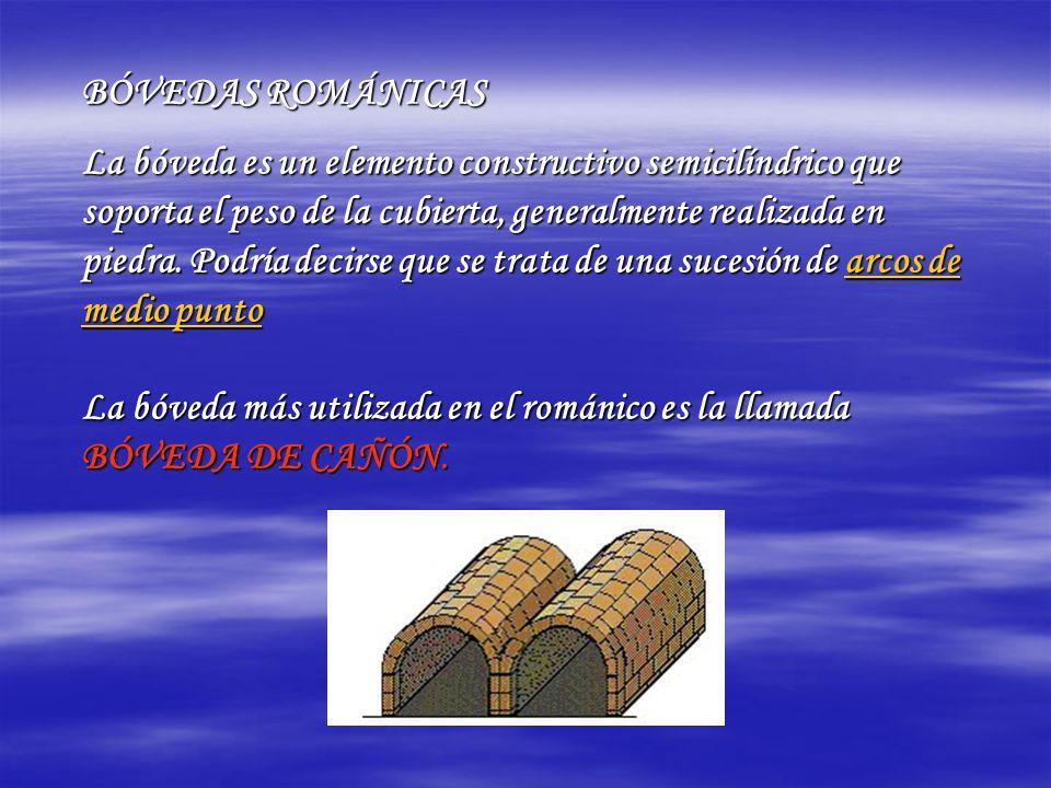 BÓVEDAS ROMÁNICAS La bóveda es un elemento constructivo semicilíndrico que soporta el peso de la cubierta, generalmente realizada en piedra. Podría de