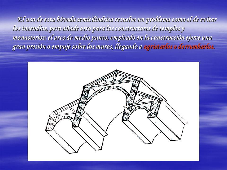 El uso de esta bóveda semicilíndrica resuelve un problema como el de evitar los incendios, pero añade otro para los constructores de templos y monaste