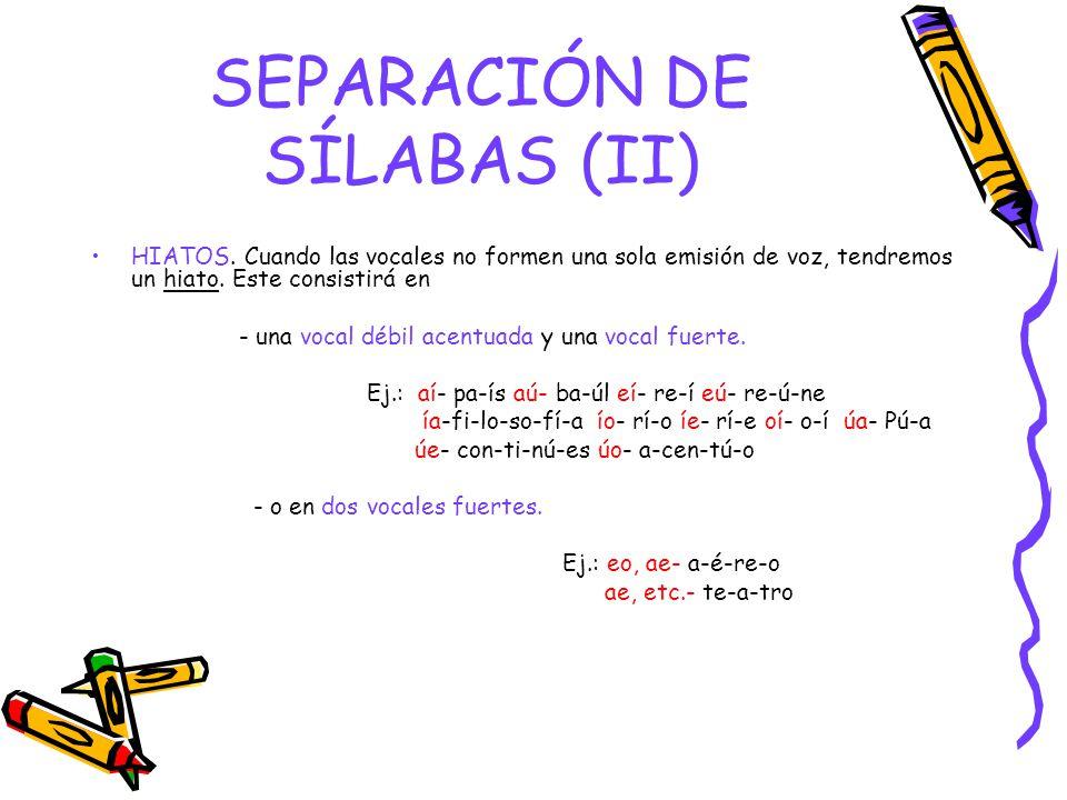 SEPARACIÓN DE SÍLABAS (II) HIATOS.
