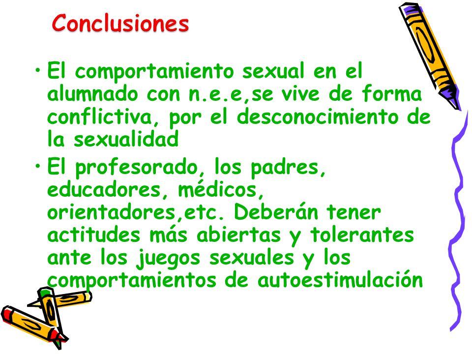 El comportamiento sexual en el alumnado con n.e.e,se vive de forma conflictiva, por el desconocimiento de la sexualidad El profesorado, los padres, ed