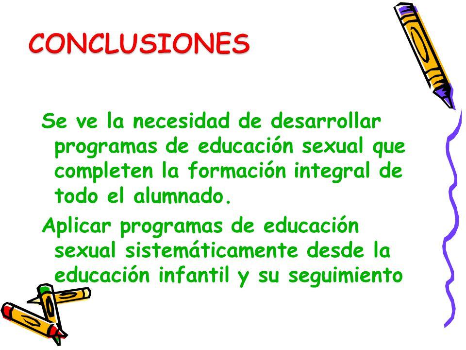 Se ve la necesidad de desarrollar programas de educación sexual que completen la formación integral de todo el alumnado. Aplicar programas de educació