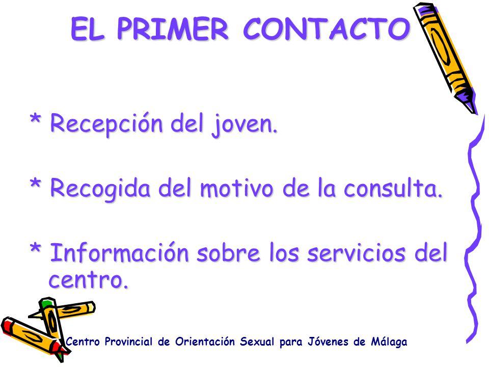 EL PRIMER CONTACTO * Recepción del joven. * Recogida del motivo de la consulta. * Información sobre los servicios del centro. Centro Provincial de Ori