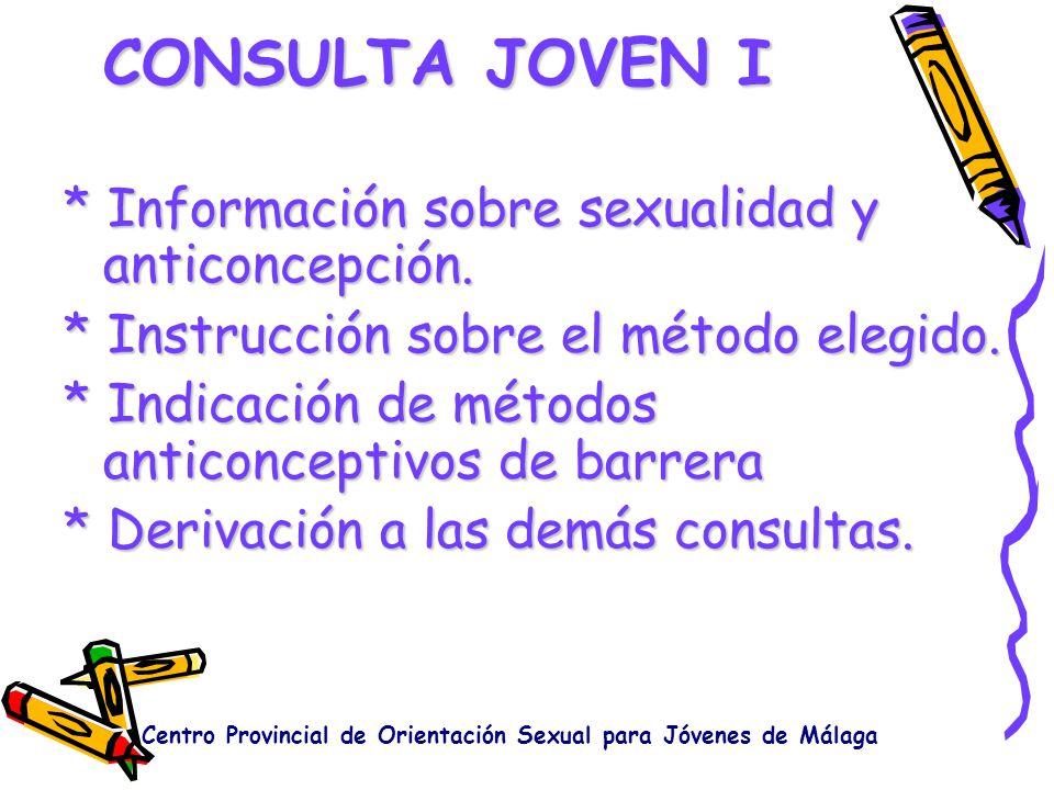 CONSULTA JOVEN III Asesoramiento e instrucción en cuestiones sexuales y acerca del desarrollo psicosexual.Asesoramiento e instrucción en cuestiones sexuales y acerca del desarrollo psicosexual.