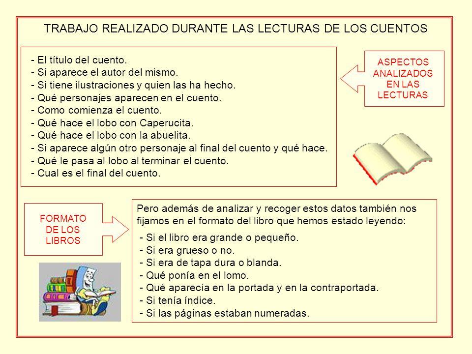 TRABAJO REALIZADO DURANTE LAS LECTURAS DE LOS CUENTOS - El título del cuento.