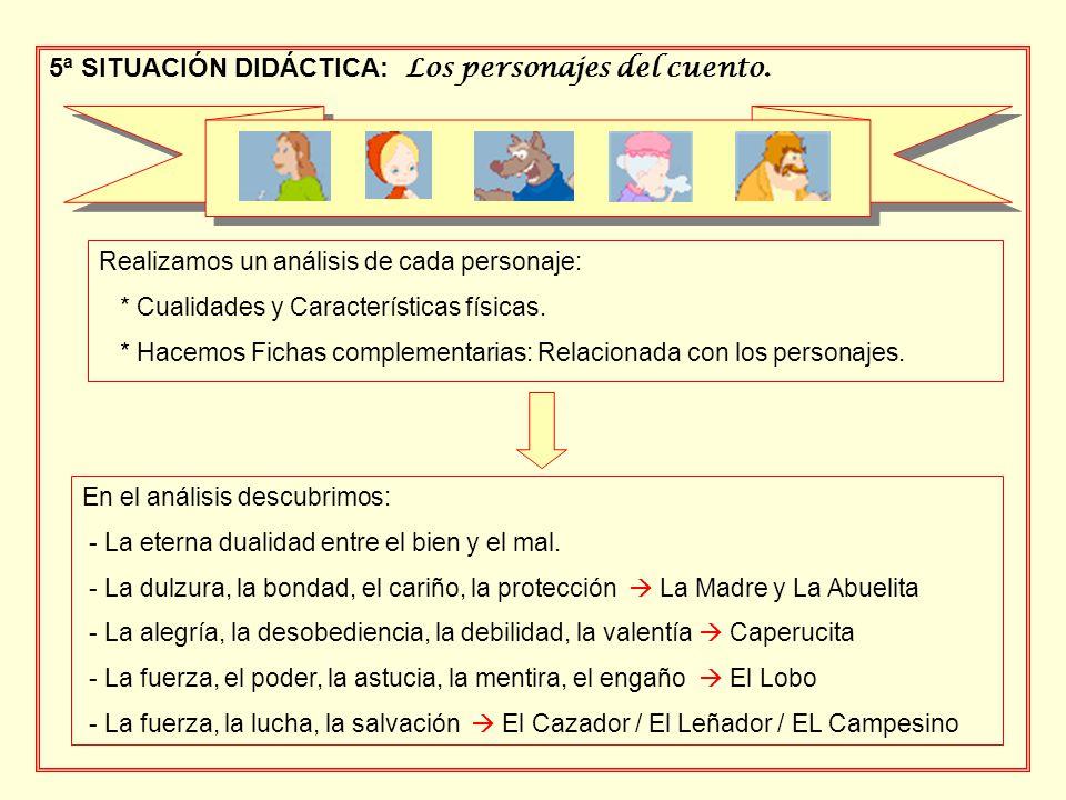 5ª SITUACIÓN DIDÁCTICA: Los personajes del cuento. Realizamos un análisis de cada personaje: * Cualidades y Características físicas. * Hacemos Fichas