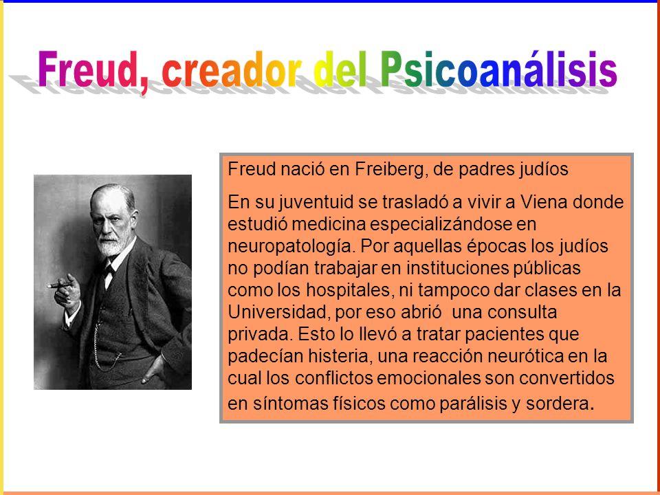 Freud nació en Freiberg, de padres judíos En su juventuid se trasladó a vivir a Viena donde estudió medicina especializándose en neuropatología. Por a