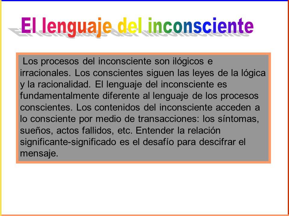 Los procesos del inconsciente son ilógicos e irracionales. Los conscientes siguen las leyes de la lógica y la racionalidad. El lenguaje del inconscien