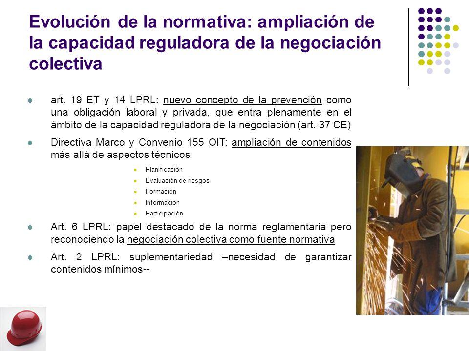 Evolución de la normativa: ampliación de la capacidad reguladora de la negociación colectiva art.
