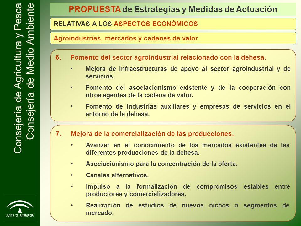 Consejería de Agricultura y Pesca Consejería de Medio Ambiente 6.Fomento del sector agroindustrial relacionado con la dehesa. Mejora de infraestructur