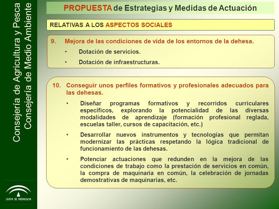 Consejería de Agricultura y Pesca Consejería de Medio Ambiente 9.Mejora de las condiciones de vida de los entornos de la dehesa. Dotación de servicios