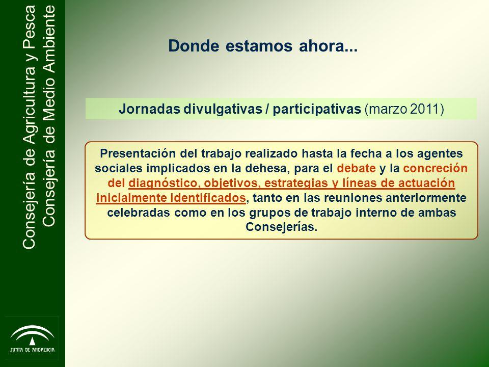 Consejería de Agricultura y Pesca Consejería de Medio Ambiente Jornadas divulgativas / participativas (marzo 2011) Presentación del trabajo realizado
