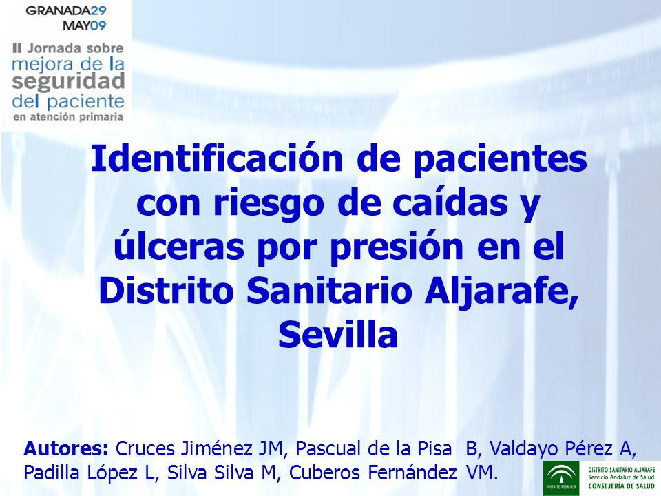 Identificación de pacientes con riesgo de caídas y úlceras por presión en el Distrito Sanitario Aljarafe, Sevilla Autores: Cruces Jiménez JM, Pascual