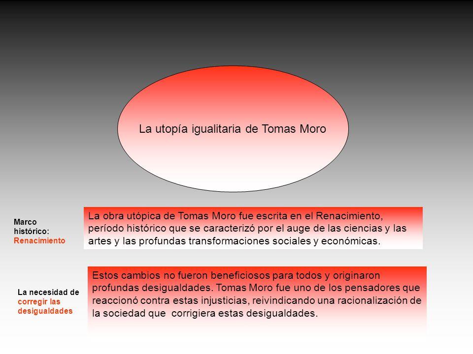 La utopía igualitaria de Tomas Moro La obra utópica de Tomas Moro fue escrita en el Renacimiento, período histórico que se caracterizó por el auge de