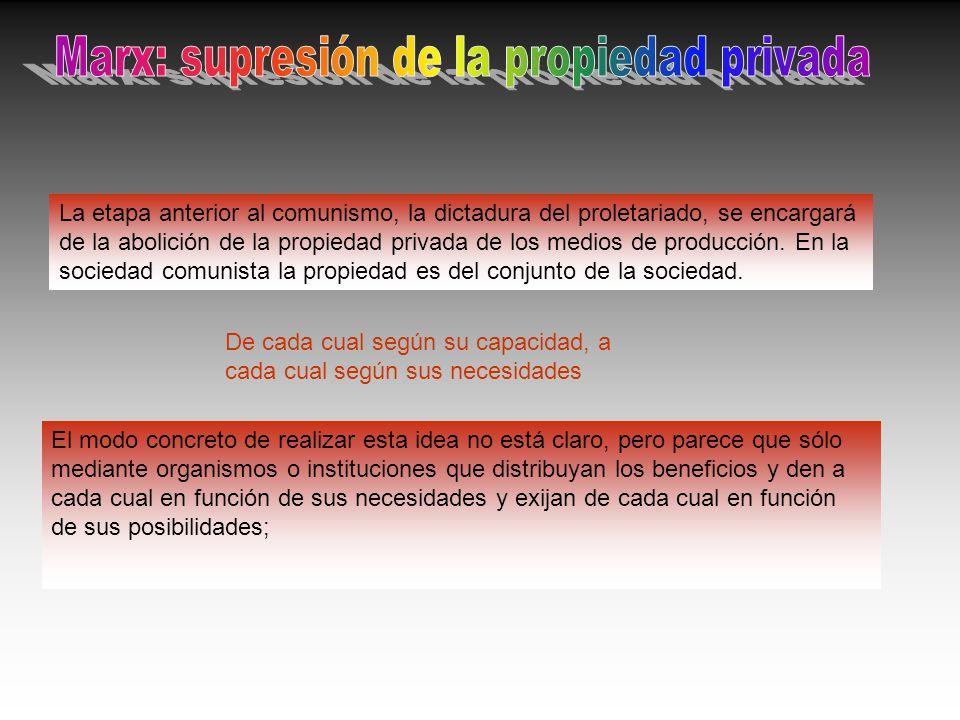 La etapa anterior al comunismo, la dictadura del proletariado, se encargará de la abolición de la propiedad privada de los medios de producción. En la