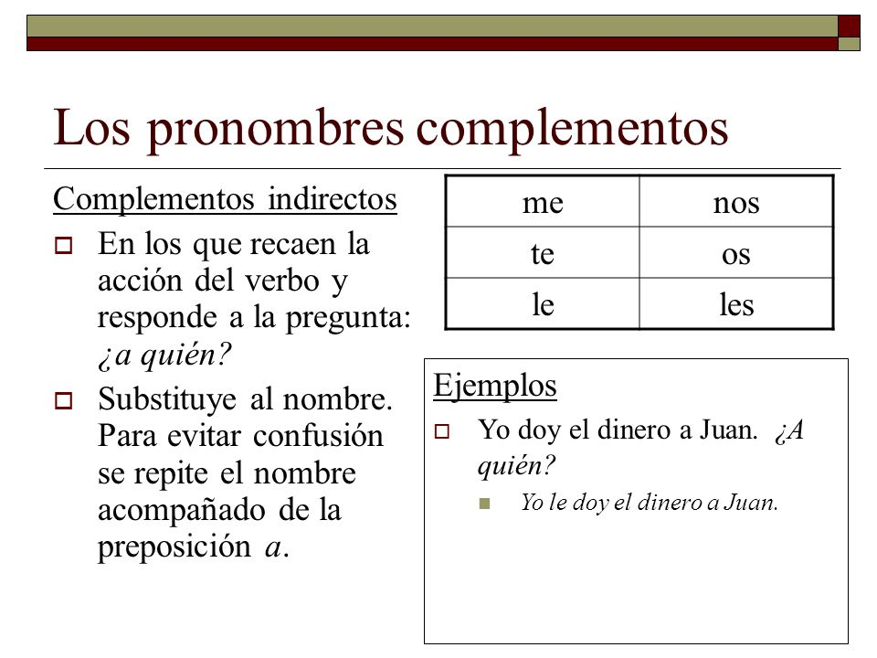 Los pronombres complementos Complementos indirectos En los que recaen la acción del verbo y responde a la pregunta: ¿a quién? Substituye al nombre. Pa