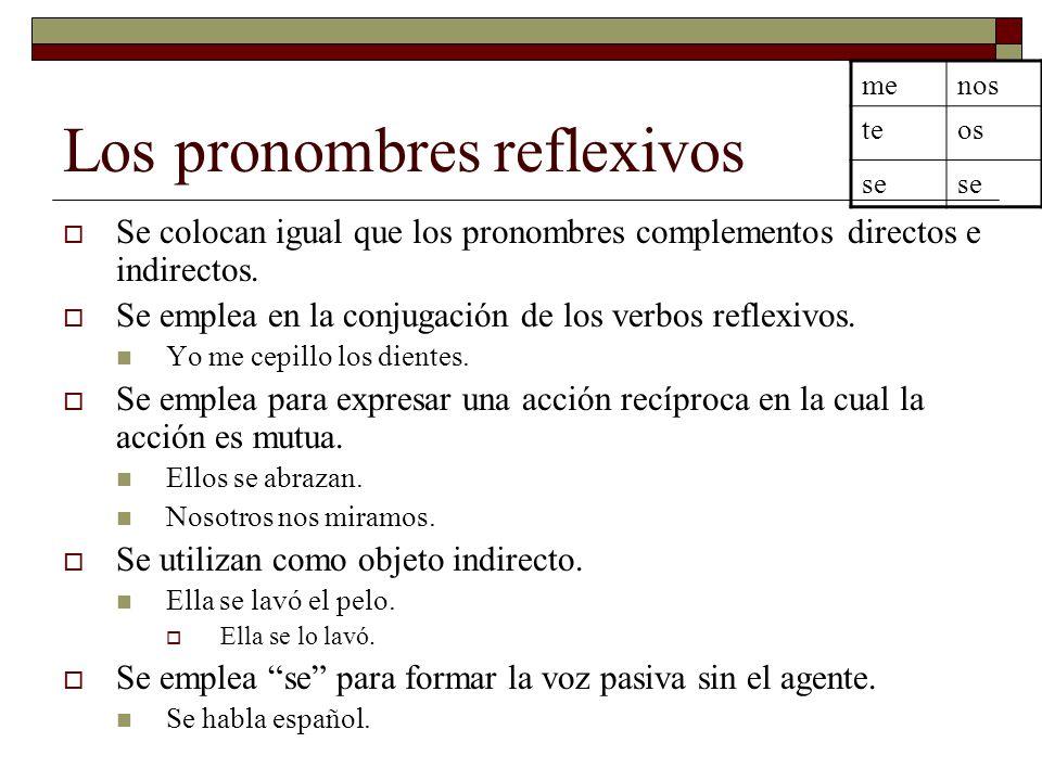 Los pronombres reflexivos Se colocan igual que los pronombres complementos directos e indirectos. Se emplea en la conjugación de los verbos reflexivos