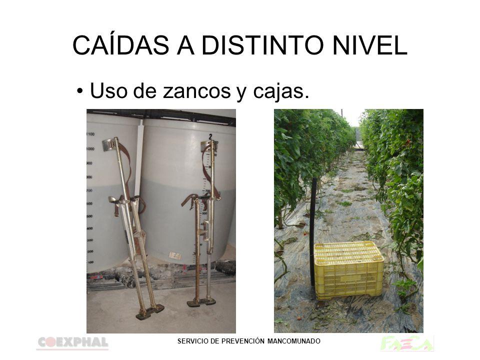 SERVICIO DE PREVENCIÓN MANCOMUNADO CAÍDAS A DISTINTO NIVEL Uso de zancos y cajas.