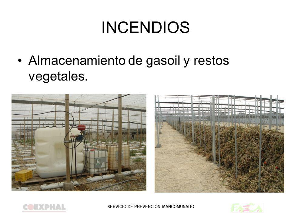 SERVICIO DE PREVENCIÓN MANCOMUNADO INCENDIOS Almacenamiento de gasoil y restos vegetales.
