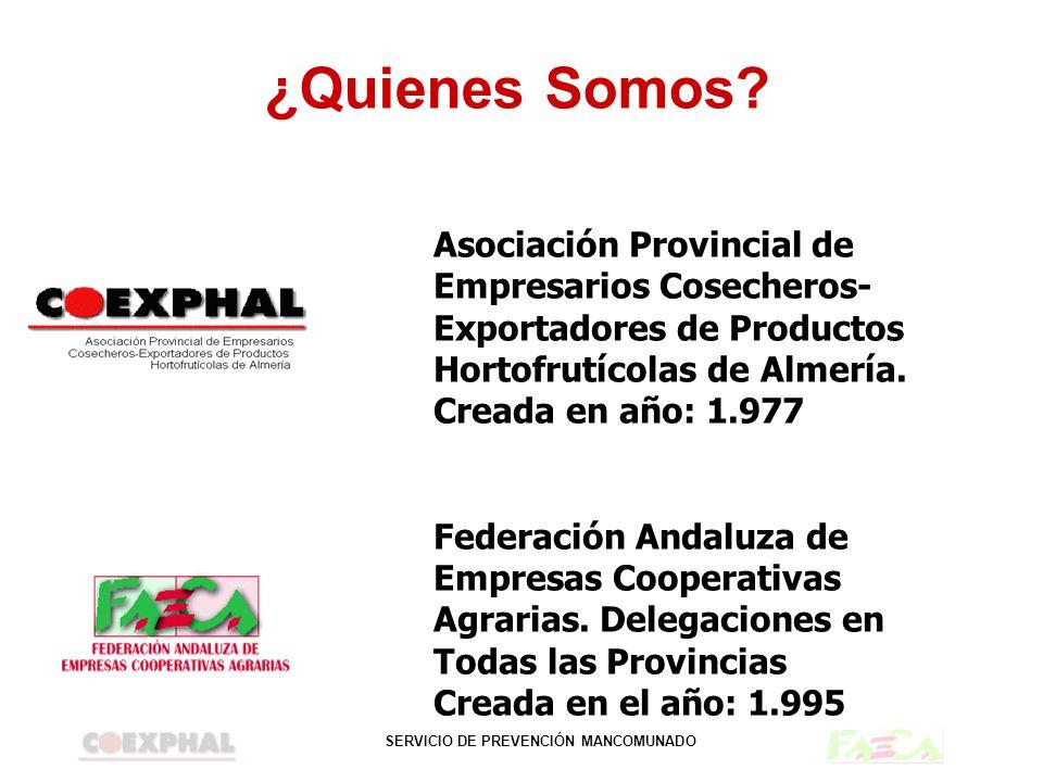 SERVICIO DE PREVENCIÓN MANCOMUNADO ¿Quienes Somos? Asociación Provincial de Empresarios Cosecheros- Exportadores de Productos Hortofrutícolas de Almer