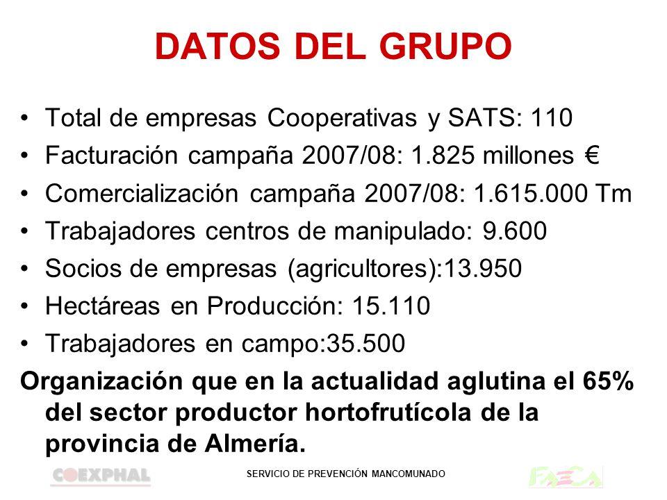 SERVICIO DE PREVENCIÓN MANCOMUNADO DATOS DEL GRUPO Total de empresas Cooperativas y SATS: 110 Facturación campaña 2007/08: 1.825 millones Comercializa
