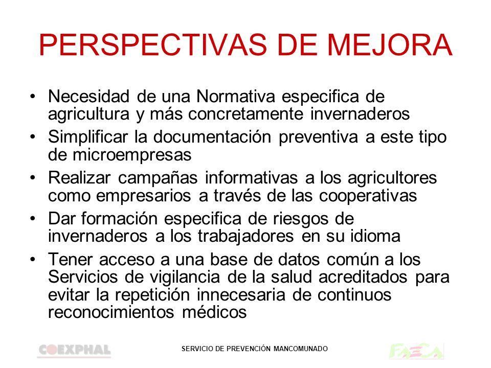 SERVICIO DE PREVENCIÓN MANCOMUNADO PERSPECTIVAS DE MEJORA Necesidad de una Normativa especifica de agricultura y más concretamente invernaderos Simpli