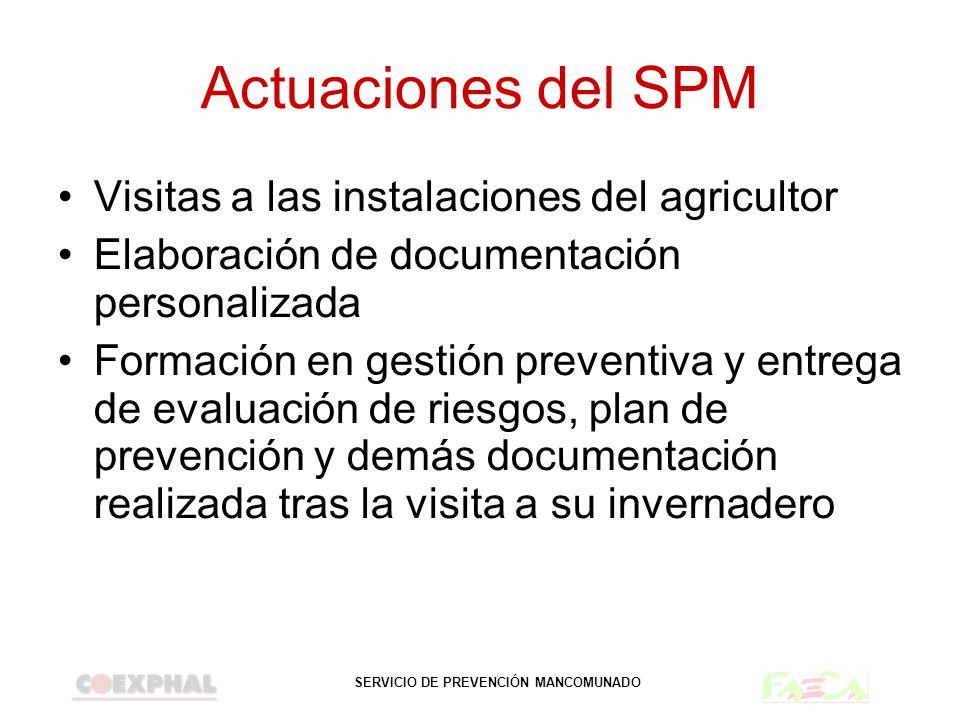 SERVICIO DE PREVENCIÓN MANCOMUNADO Actuaciones del SPM Visitas a las instalaciones del agricultor Elaboración de documentación personalizada Formación