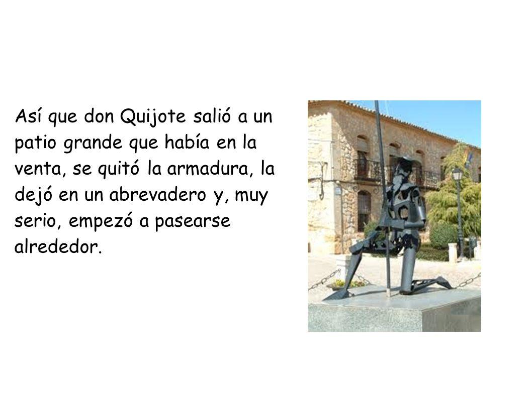 Así que don Quijote salió a un patio grande que había en la venta, se quitó la armadura, la dejó en un abrevadero y, muy serio, empezó a pasearse alrededor.