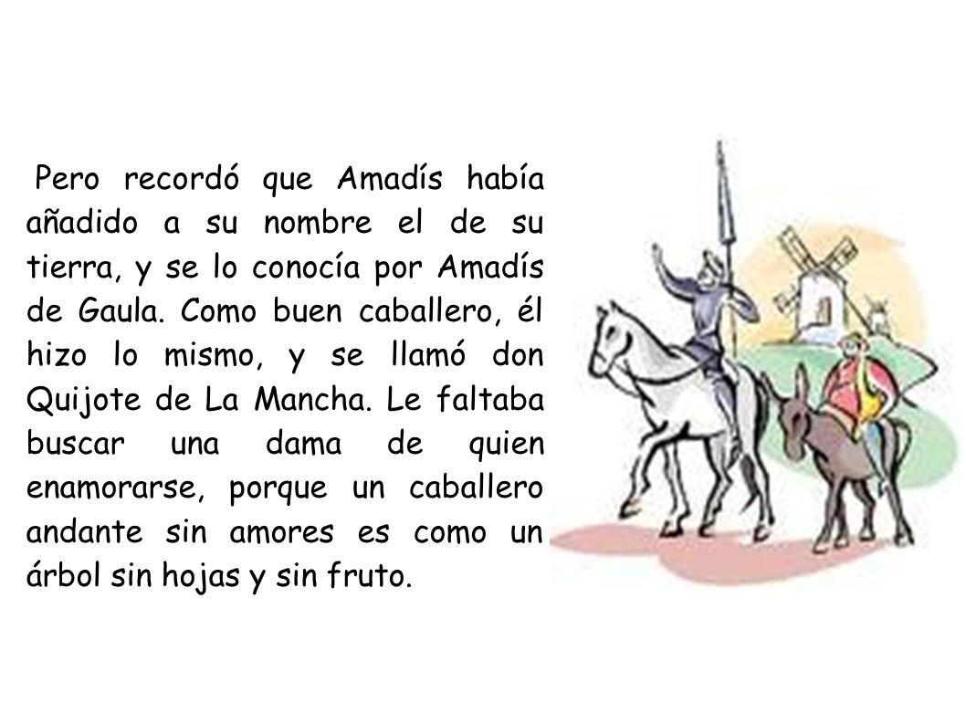 Pero recordó que Amadís había añadido a su nombre el de su tierra, y se lo conocía por Amadís de Gaula. Como buen caballero, él hizo lo mismo, y se ll