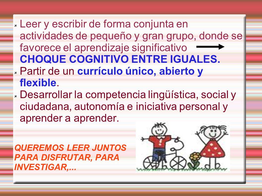 Leer y escribir de forma conjunta en actividades de pequeño y gran grupo, donde se favorece el aprendizaje significativo CHOQUE COGNITIVO ENTRE IGUALE