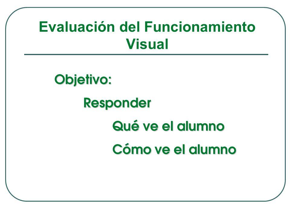 Evaluación del Funcionamiento Visual Objetivo:Responder Qué ve el alumno Cómo ve el alumno