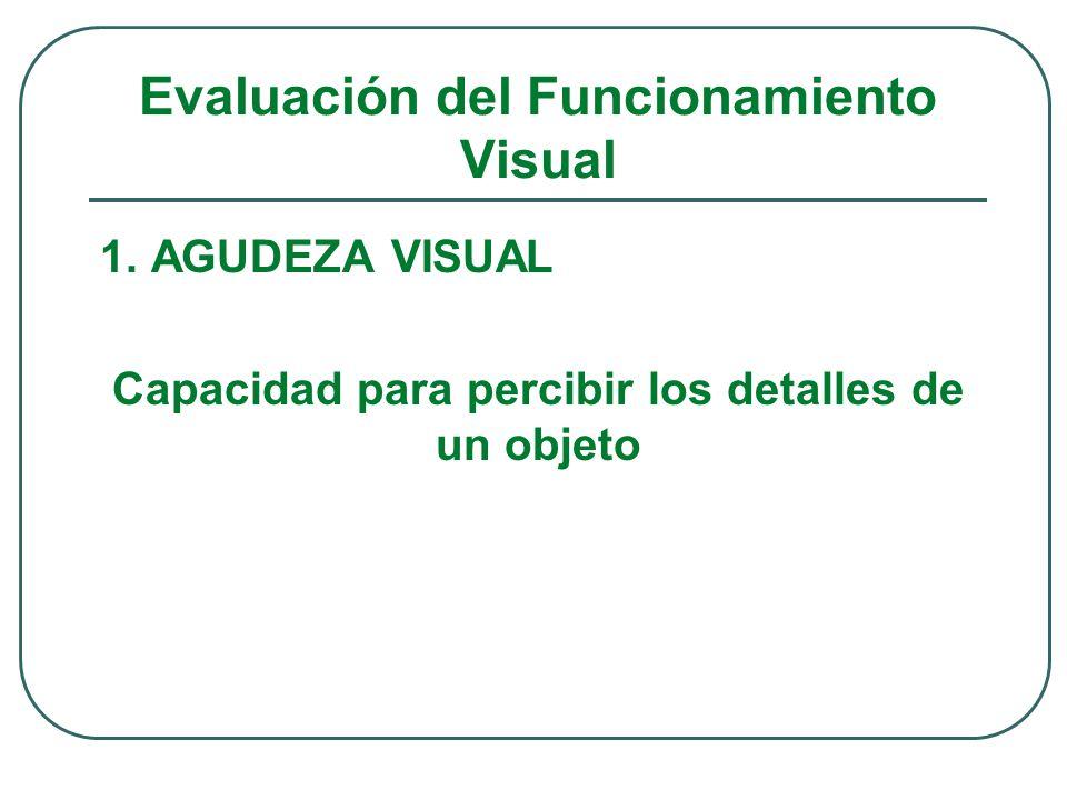 Evaluación del Funcionamiento Visual 1. AGUDEZA VISUAL Capacidad para percibir los detalles de un objeto