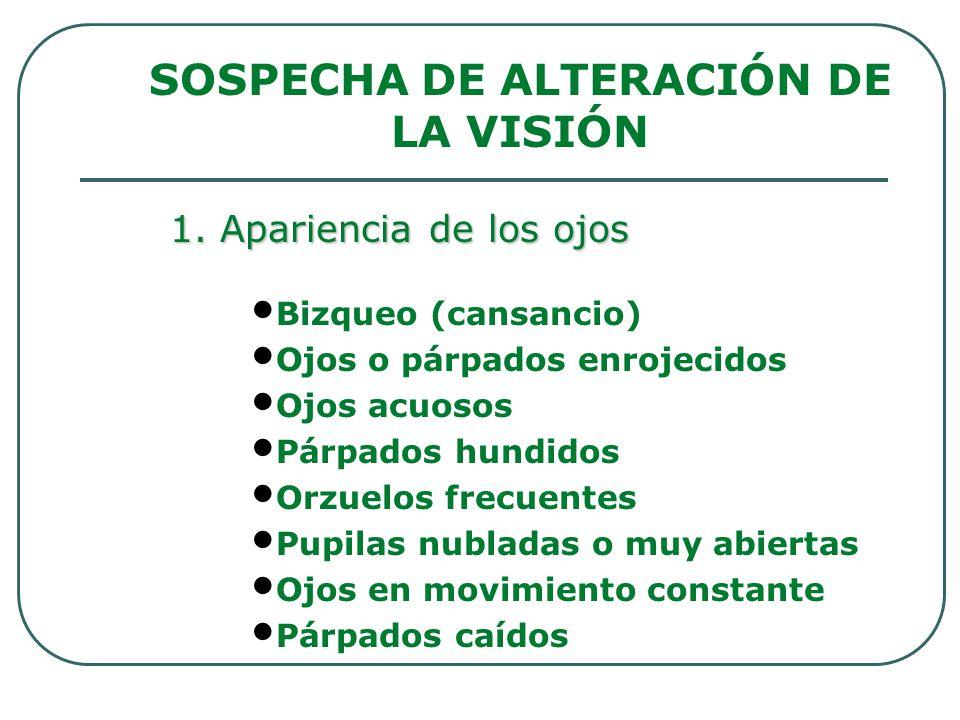SOSPECHA DE ALTERACIÓN DE LA VISIÓN Bizqueo (cansancio) Ojos o párpados enrojecidos Ojos acuosos Párpados hundidos Orzuelos frecuentes Pupilas nublada